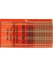 Microbox Shanked Drill Set (10) 0.5 to 2.2mm