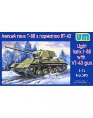 T-80 Soviet light tank with gun VT-43