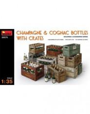 Champagne & Cognac bottles w/сrates