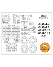Masca cockpit + wheels Ju-88A-4 / A5 / A-11 / A-14 (ICM/Revell)